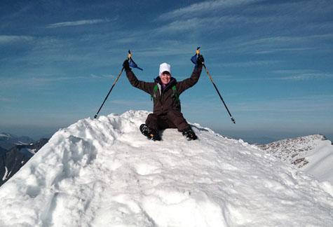 Jessica på toppen av Kebnekaises sydtopp 11 september 2015
